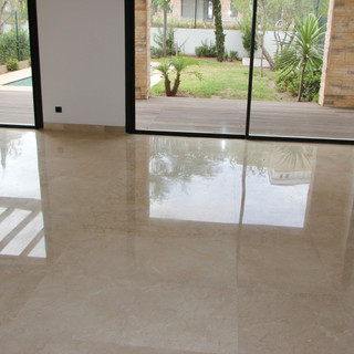 Crema Marfil marble in a living room