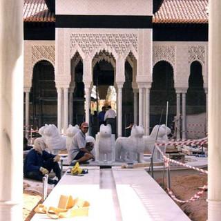 Réplique de l'Alhambra lions Blanco Macael