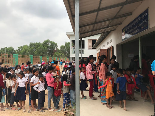 local school students waiting for dental services