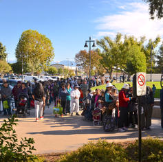 Line outside the community center for the giveaway