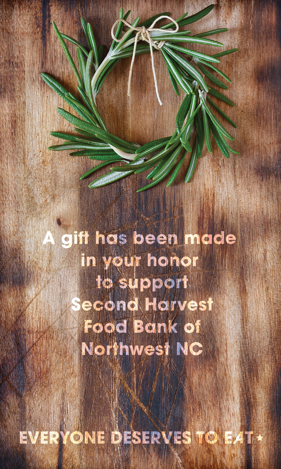 Image of Second Harvest's Holiday Card Insert with rosemary on a cutting board