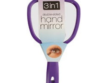3 in 1 Double-Sided Hand Mirror-Purple