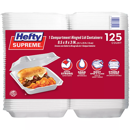 Hefty Supreme Foam 1 Compartment HLC (125 ct.)