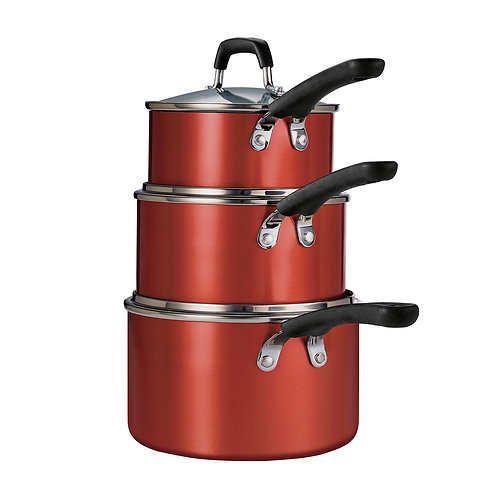 Tramontina 6-Piece Stackable Nonstick Sauce Pan Set-Red