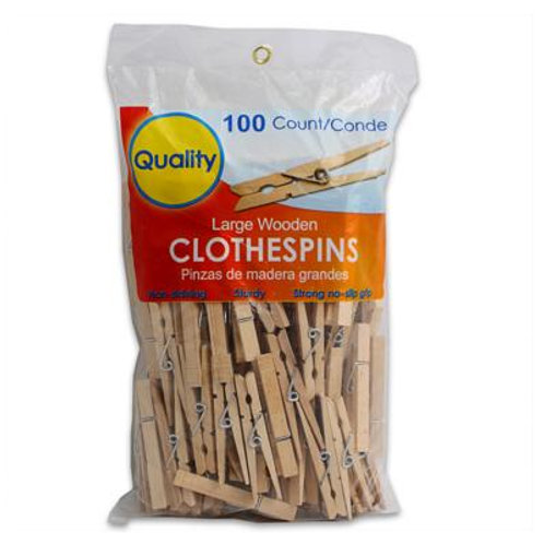 Large Wooden Clothespin 100-pack