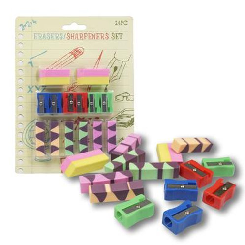 Eraser and Sharpener 14pc Set