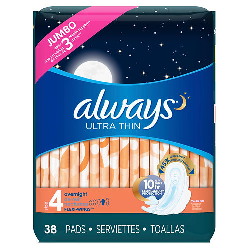 Always Ultra Thin Size 4 Overnight Pads With Wings Unscented-38ct
