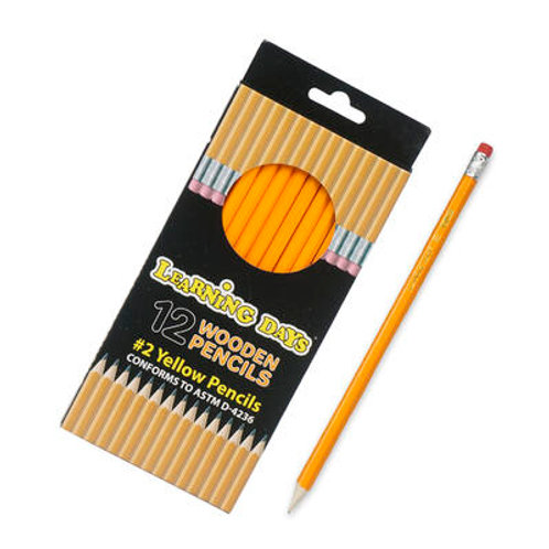12 ct #2 Yellow Wooden Pencils with Eraser Pack