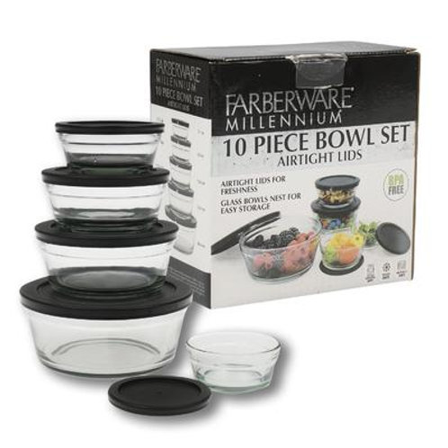 10 Piece Farberware Glass Bowl Set with Black Lid