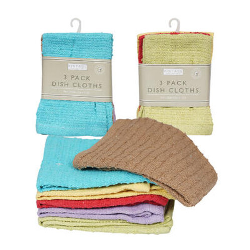 "3 Pack Dish Cloth- 12""""x 12""""- Assorted Colors"