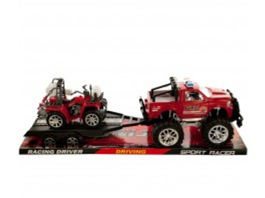 Friction Powered Fire Rescue Trailer Truck with ATV