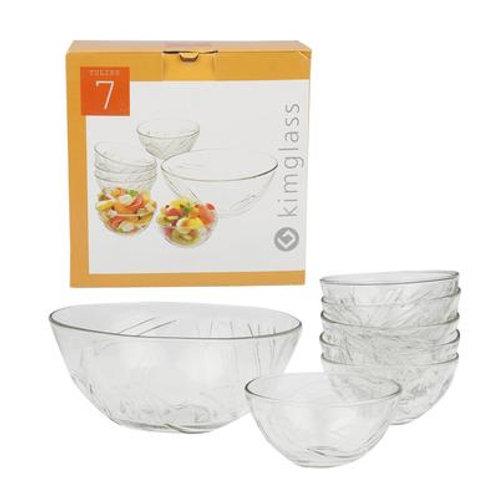 7 Piece Salad Tulips Glass Bowl Set