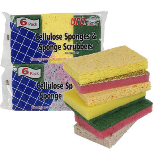 Cellulose Sponge and Scrubber 6-pack