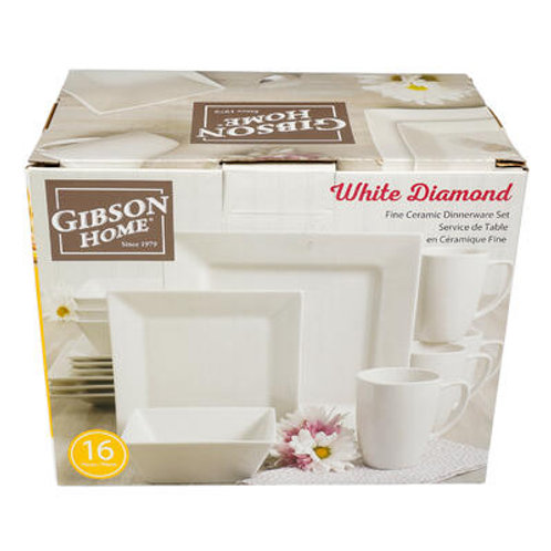16 Piece Gibson White Diamond Dinnerware Set