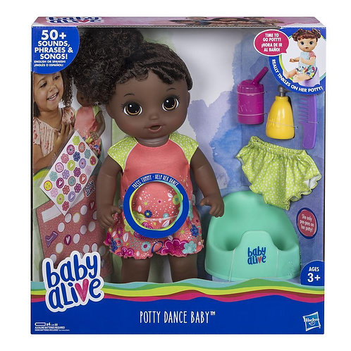 Baby Alive Potty Dance Baby - Black Curly Hair