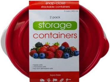 2 Pack Plastic Round Food Container