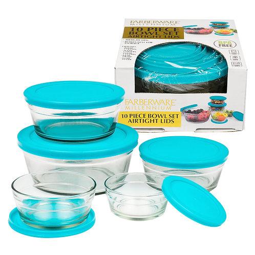 10 Piece Farberware Aqua Glass Bowl Set