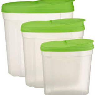 3 pc Pourable Food Storage Container Set-Limegreen
