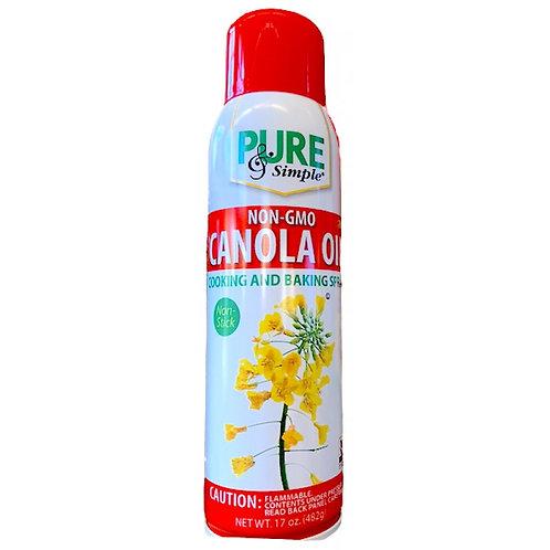 Pure & Simple Non-GMO Canola Oil Cooking & Baking Spray, 17 Ounce