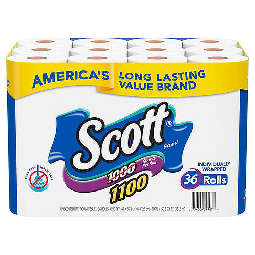 Scott Bath Tissue, 1-Ply, 1100 Sheets, 36 Rolls