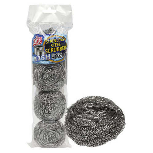 SCRUBBER, 4pc STAINLESS STEEL