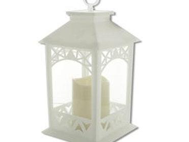 Decorative LED White Lantern with Pillar Candle