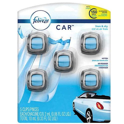 Febreze Air Freshener Car Vent Clips, Linen & Sky, 5-count