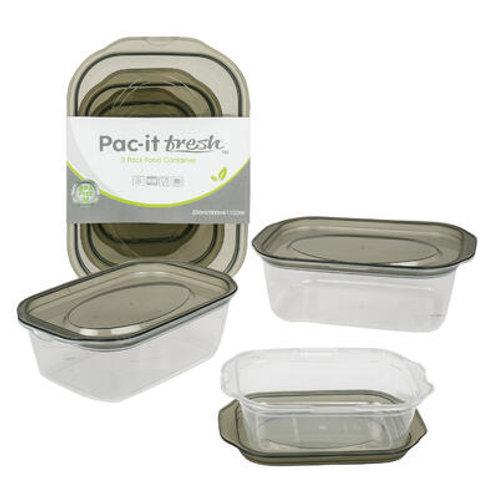 3 Piece Rectangular Food Container Set