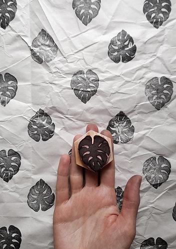 Palm Leaf Hand Carved Rubber Stamp