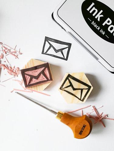 Envelope Hand Carved Rubber Stamp