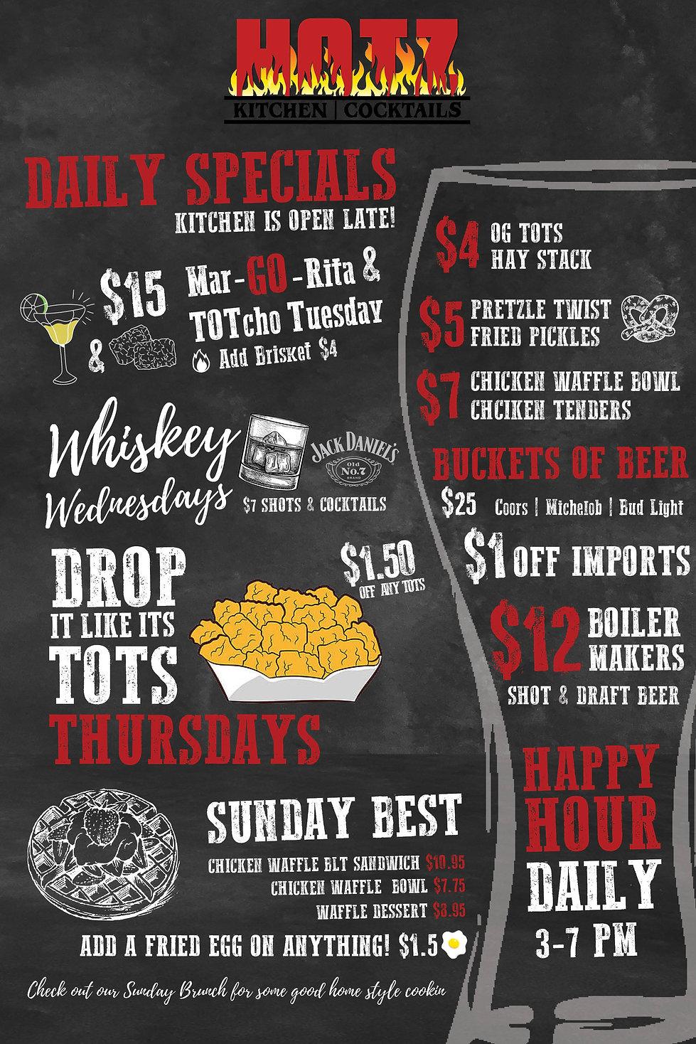 Hotz Kitchen & Cocktails Specials Menu - Downtown Riverside, CA