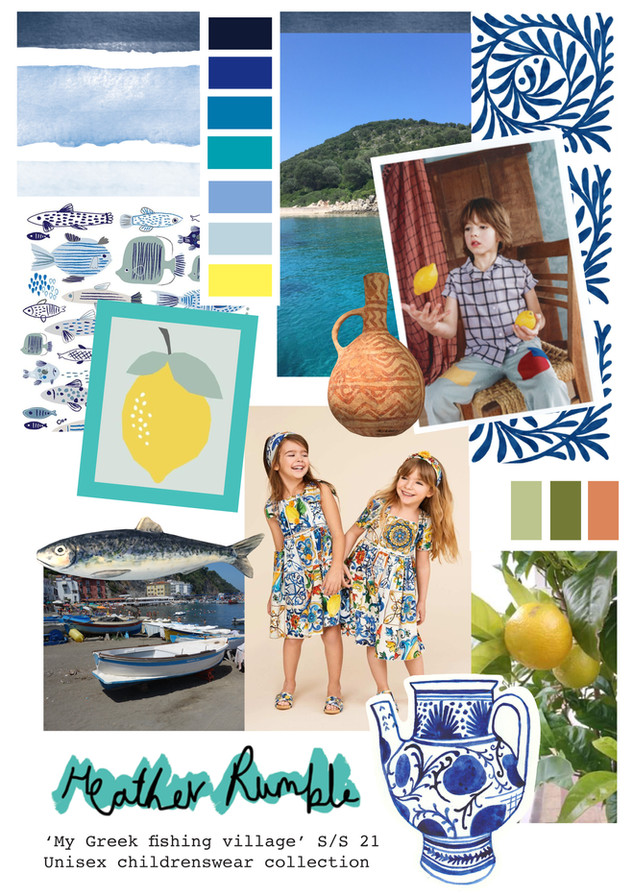 """My Greek Fishing Village"" Initial Moodboard development"