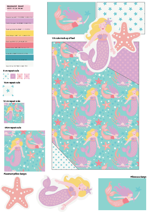 """Mermaid Lagoon"" bed mock up sheet"