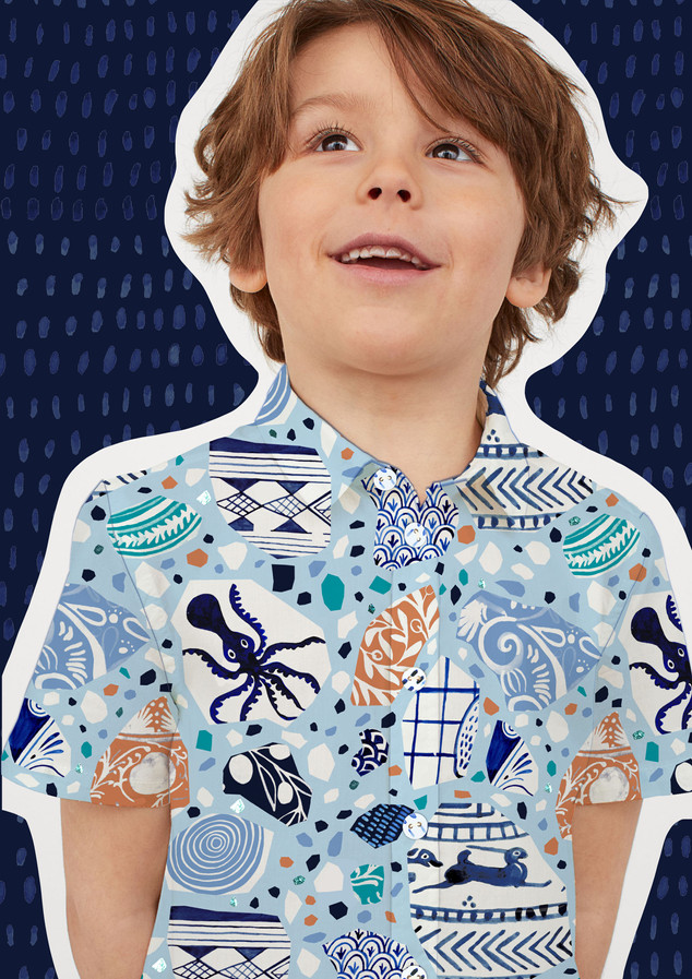 """My Greek Fishing Village"" unisex childrenswear collection"