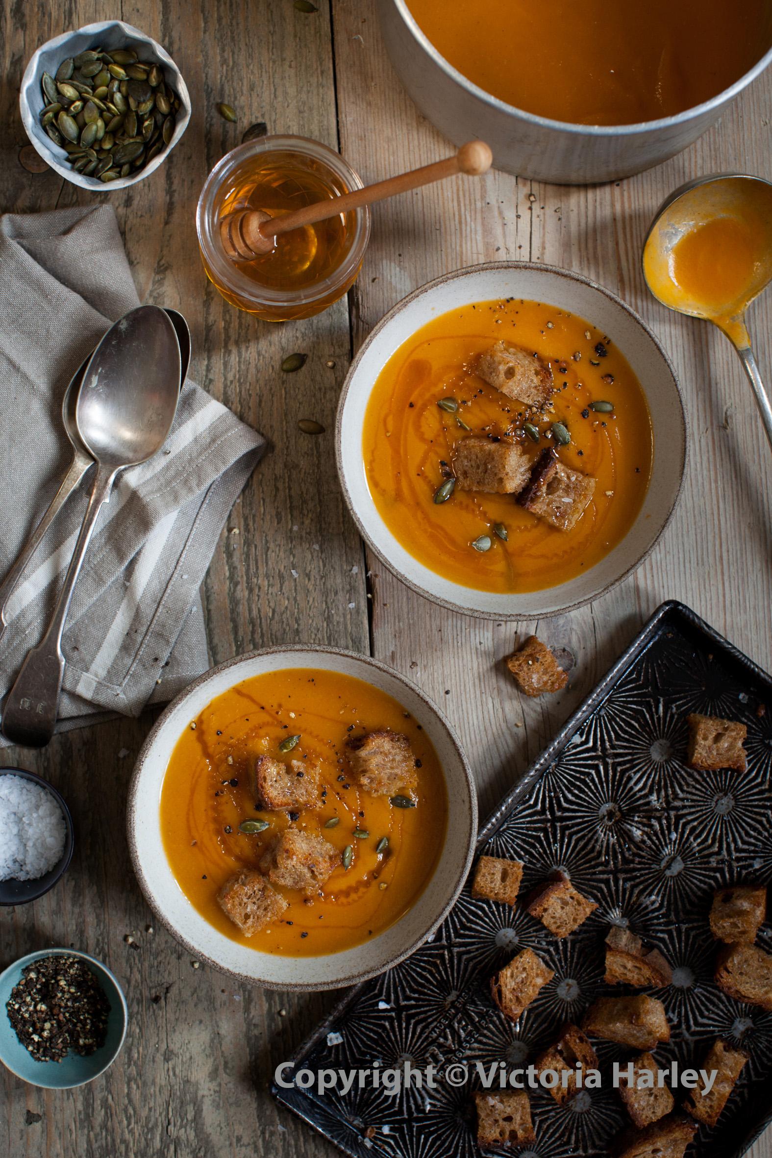 Pumpkin Soup and honey croutons website