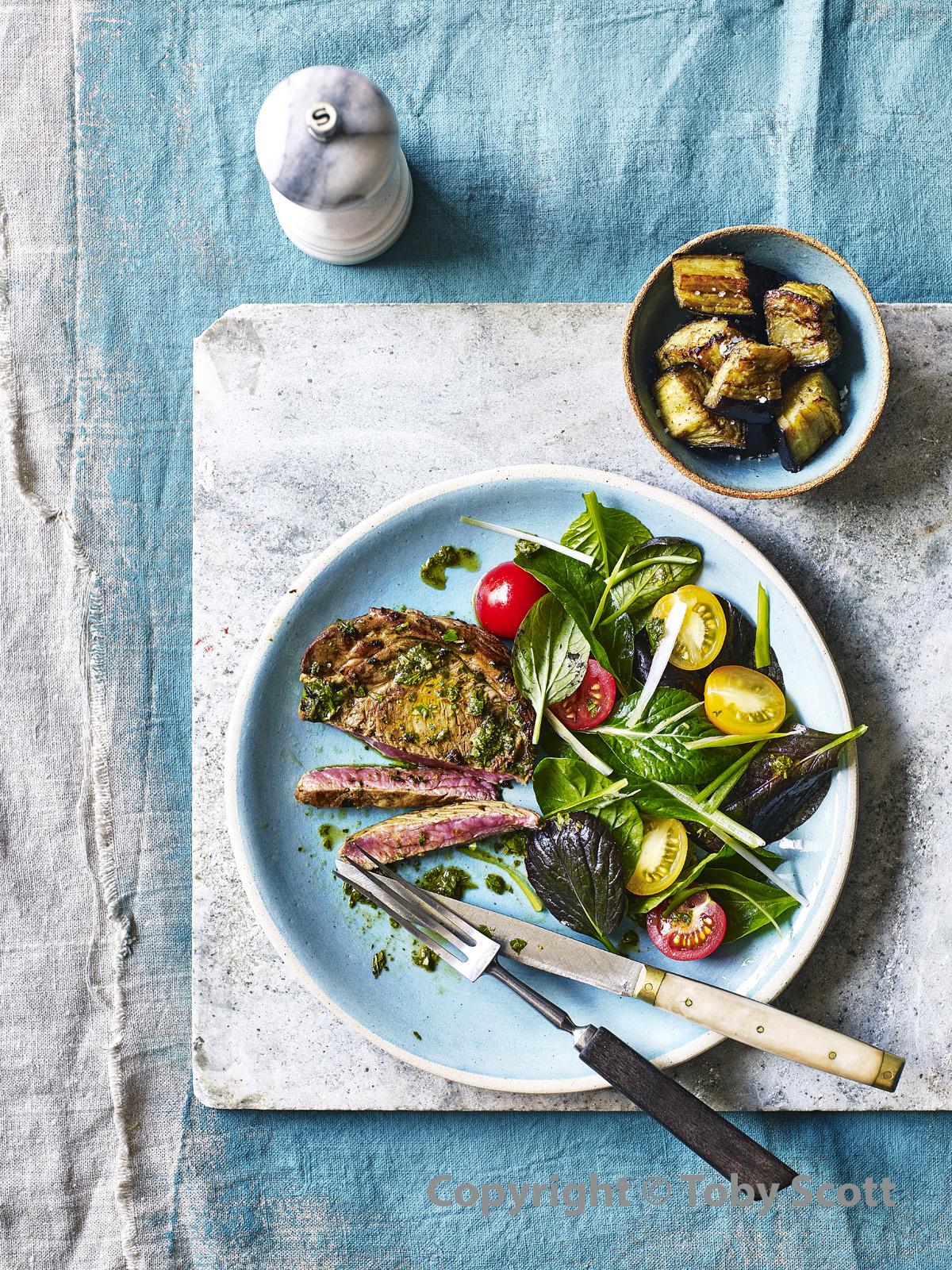Grilled Lamb with Aubergine & Minty Chimichurri WEB