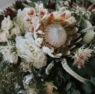Peony and protea bridal bouquet