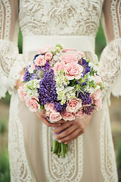 round pink spray rose and purple lilac bridal bouqut weddings by anerson florist Tillamook Oregon