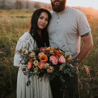 Boho gold, rust peach and lavender bridal bouque Tillamook Oregon