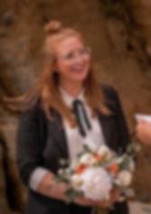 Lesbian wedding peach and white bouquet