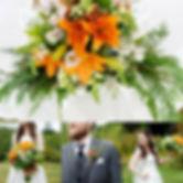 orange lily wedding horizonal bouquet