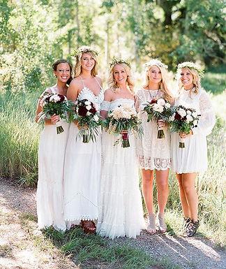 Bohimian bridal party burgundy ad cream wedding flowers weddings by anderson florist tillamook Oregon