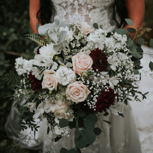 blush burgundy and white garden bridal