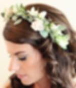 Blush and green floral headpiece by weddins by anderson florist Tillamook Oregon