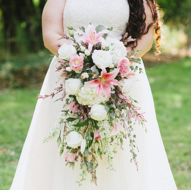 Cascading vintage garden bridal bouquet