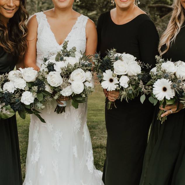 White and Navy bridal bouquets