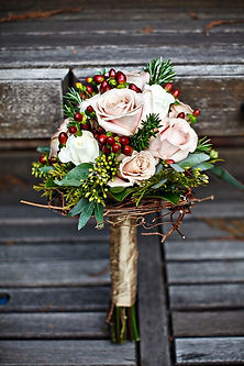 blush brown and green bridesmaid bouquet by anderson florist Tillamook Oregon