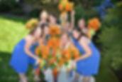 Orange lilies brides maid bouquets weddings by anderson florist Tillamook Oregon coast