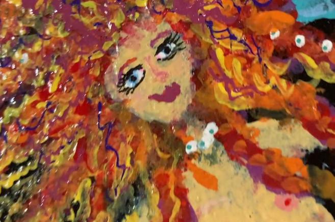 Mermaid painting on cigar box