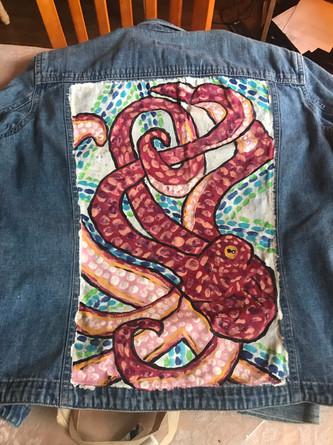 Octopus Painted Jean Jacket